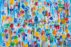 Bloemen in het blauw 80x100  Sold