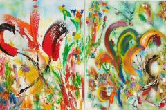 Misty Garden duette diptych 60x140 - 500 euro